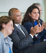 Governor Deval Patrick and Massachusetts Office of Refugees and Immigrants Executive Director Josiane Martinez visits the New American Center in Lynn during an observance of World Refugee Day and Immigrant Entrepreneurship Month.