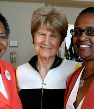 From left: Sylvia Ferrell-Jones, YW Boston President and CEO; Evelyn Murphy, former Lieutenant Governor of Massachusetts and YW Boston Lifetime Achievement Award recipient; and Stephanie Lovell AWA '14 and Senior Vice President at Blue Cross Blue Shield of Massachusetts.