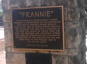 The plaque that dedicates the fountain in Billie Limacher Bicentennial Park to Frannie Schultz, wife of Joliet's late mayor, remains, even if the fountain does not.