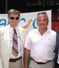 Enjoying the annual ABCD Field of Dreams softball tournament in Fenway Park are ABCD Executive Vice President Sharon Scott-Chandler and President/CEO John Drew; event co-chairman Lew Eisenberg and Daniel Koh, chief of staff to Mayor Martin Walsh. The tournament raises funds for the ABCD Summerworks Program that funds summer jobs for Boston teens.