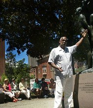 """Barry Gaither, director of the the Museum of the Center for Afro American Artists, shared his insights on the Meta Warrick Fuller statue titled """"Emancipation"""" in the South End."""