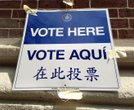Polling station voters sign