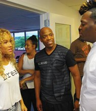"Artist, Brave Williams chats with WBP Networks' Frank E. Johnson and Lavell Lewis of Be Very Chic at the Writer's Rap event on June 12, 2014 in Baltimore. Brave also performed her new single ""Oooh"" at the event."