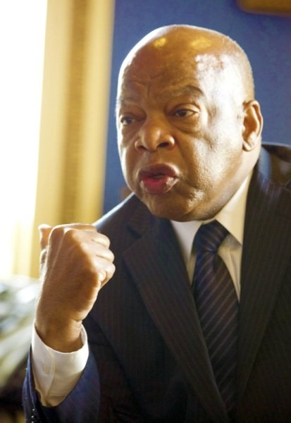 Democratic Rep. John Lewis of Georgia speaks with reporters in the office of the House Minority Whip in D.C. on June 26, 2014.