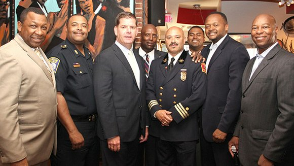 Community members gathered with Boston's top black public safety officials to recognize the new diversity in the command staffs of ...