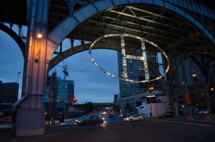 Custom LED and plasma lights were used in its construction of the H in Harlem.