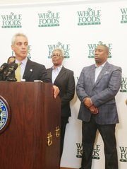 Chicago Mayor Rahm Emanuel and 16th Ward Ald. JoAnn Thomson, seen here last year announcing that Whole Foods was coming to Englewood.