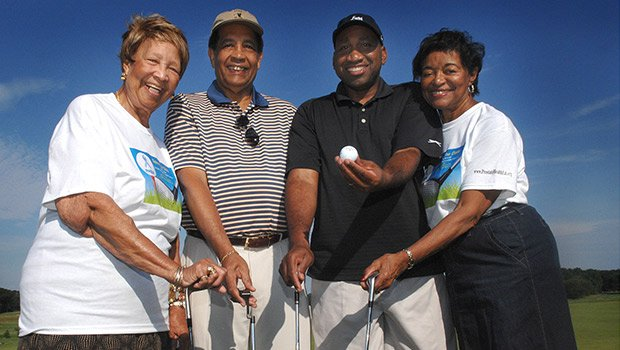 The Prostate Health and Education Network held its 11th annual Tee Off to Fight Prostate Cancer Golf Tournament at the Franklin Park golf course. (l-r) volunteer Thelma Burns, founder/director Tom Farrington, state Rep. Russell Holmes and Juarez Farrington.