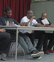 (Left to right) Marie Delus, Morlon Peterson, Chris Foye, Shanduke McPhatter. and Derick Lahf -- Closing out June's Gun Awareness Month activities Chris Foye of the Chris S. Owens Foundation hosts a panel and a day of youth-oriented events at Brooklyn's Herbert Von King Part.