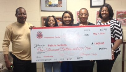 Felicia Jenkins of McNair High is going to Gordon State College in Barnesville this fall with a $1,000 Bradford Family ...