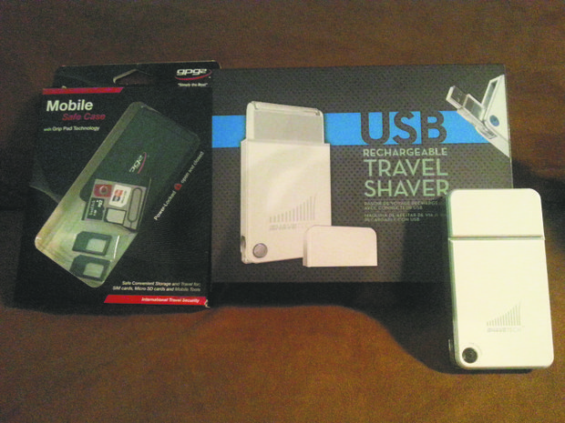 Shavetech, a USB-chargeable razor, and the Mobile Safe Case, a Grip Pad Technology SIM and Micro SD card gliding drawer case, are among the latest functional and stylish travel items on the market.