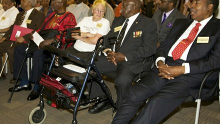 From left: Freedom Riders Dion Diamond, Rev. Reginald Green, John Moody, Joan Trumpauer Mulholland, Charles Person and Hank Thomas sit in the front row during a June 2 ceremony at a U.S. Department of Education facility in Richmond, Virginia, to commemorate the 50th anniversary of the Civil Rights Act.