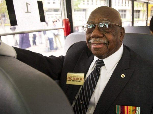 Freedom Rider Charles Person waits aboard a bus headed to Richmond, Virginia, for a June 2 ceremony to commemorate the 50th anniversary of the Civil Rights Act.