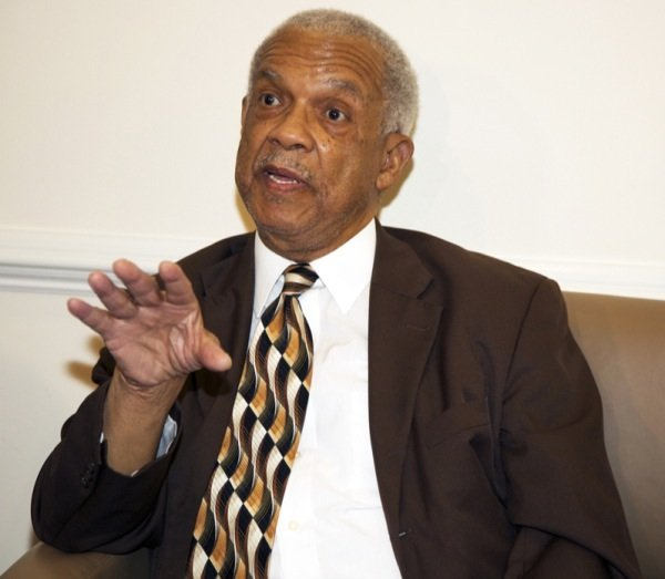 Freedom Rider Rev. Reginald Green speaks to the press before a June 2 ceremony at a U.S. Department of Education facility in Richmond, Virginia, to commemorate the 50th anniversary of the Civil Rights Act.
