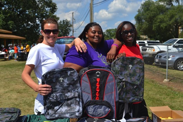 Free school supplies and other giveaways are part of the fun at the annual Back-to-School Blast in Nowell Park.