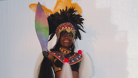 The D'Midas International carnival band displayed the costumes for their entry in the 2014 Boston Caribbean Carnival: Zulu Nation. Models ...