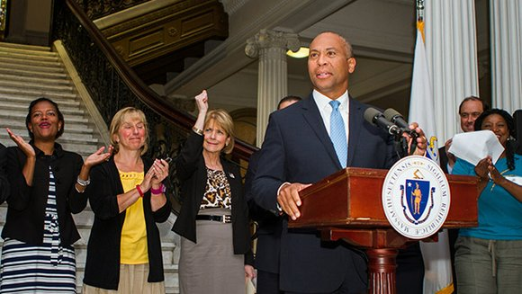 Labor activists, Gov. Deval Patrick and legislators gathered at the State House last week to mark the signing into law ...