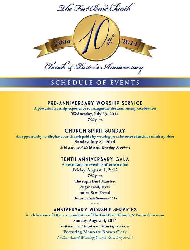 the fort bend church 10th pastor s anniversary houston style