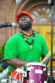Joseck Asikoye played the drums with Jabali Afrika, a group from Kenya, at the Africa Underground celebration at the Smithsonian's Museum of African Art in Southwest on June 28.