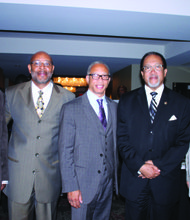 Renowned Civil Rights leader and NNPA President Dr. Benjamin Chavis (second from right) pictured with Self Enhancement Inc's Tony Hopson Sr. (from left), Pastor Hardy of Highland Community Church and Chris H. Bennett, founder of the Seattle Medium.