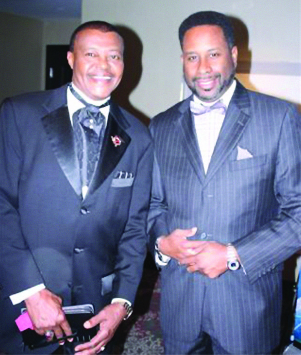 John Stanford (left), president of the MJWJ Global Radio Network out of Houston, Texas, and Michael McCall, the network's vice president of operations, enjoy the NNPA festivities.