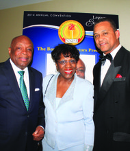 Former San Francisco Mayor Willie Brown (left), the NNPA's Legacy of Excellence award winner at the group's national convention in Portland, is joined by Portland resident and former state Sen. Margaret Carter, and NNPA chair Cloves C. Campbell.