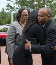Family greeted by Pastor John K. Jenkins upon arrival at First Baptist Church of Glenarden for the funeral of The Honorable Wayne K. Curry on Thursday, July 10.