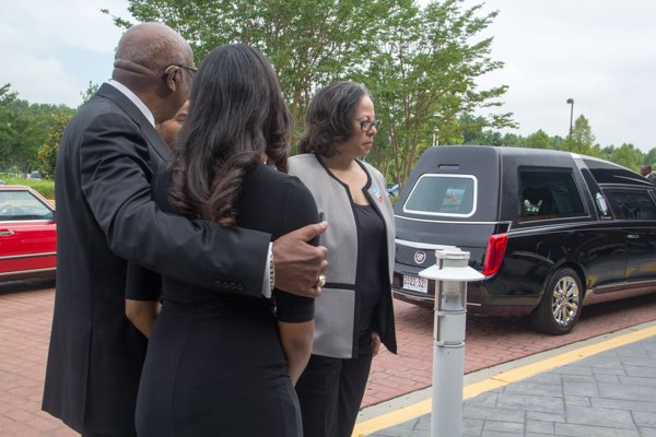 The family prepares to enter the church for funeral services for The Honorable Wayne K. Curry at First Baptist Church of Glenarden on Thursday, July 10.