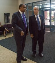 Maryland Chamber of Commerce President and CEO David Harrington with a business associate attend funeral services for the Honorable Wayne K. Curry at First Baptist Church of Glenarden on Thursday, July 10.