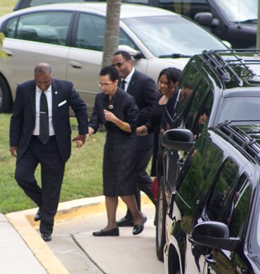 Prince George's County Executive Rushern Baker and his wife arrive at the funeral service for the Honorable Wayne K. Curry at First Baptist Church of Glenarden on Thursday, July 10.