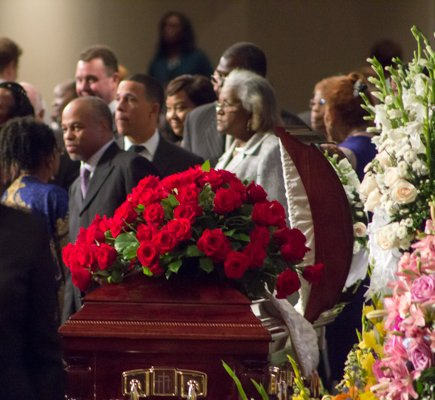 Lt. Governor Anthony Brown and Maryland State Senator Joanne C. Benson during the viewing at the funeral for the Honorable Wayne K. Curry at First Baptist Church of Glenarden on Thursday, July 10.