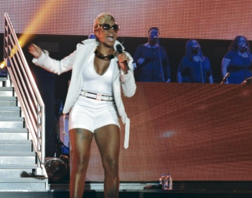 Mary J. Blige in a white short set performing Saturday night at the Superdome for the  Essence Music Festival in New Orleans. (L. Toomer photo)