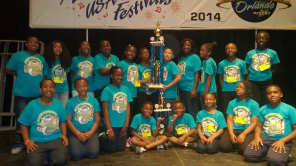 The Dunaire Elementary Dynamic Dolphins Xylophone Ensemble received top honors at the Universal Studios Music Festival USA.
