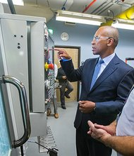 Governor Patrick makes an announcement relative to training workers in the Pioneer Valley for careers in the 21st century economy at the Smith & Wesson Center inside Springfield Technical Community College.