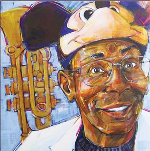 A 2007 portrait of street performer Kirk Reeves by Gwenn Seemel. The trademark style of Seemel's work will be part of a new mural of the late musician being painted on the wall of a building at Northeast Grand and Lloyd Boulevard, formerly the location of Rich's Deli.
