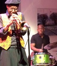 Charles Tolliver on trumpet and E.J. Strickland on drums performing at the Cell (Ron Scott photo)