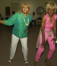 Maxine McCrey and Mae Padmore (senior line dancers)
