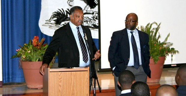 Jesse Jackson offers words of encouragement at the Barack Obama Male Leadership Academy.