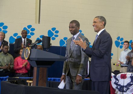 "L.A. Clippers player Chris Paul introduces President Obama during the town hall for the White House's ""My Brother's Keeper"" initiative held at Walker Jones Education Center on Monday, July 21."