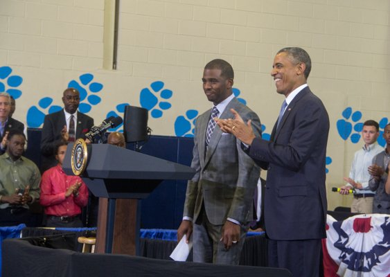 """L.A. Clippers player Chris Paul introduces President Obama during the town hall for the White House's """"My Brother's Keeper"""" initiative held at Walker Jones Education Center on Monday, July 21."""