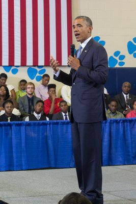 "President Obama speaks at the town hall for the White House's ""My Brother's Keeper"" initiative held at Walker Jones Education Center on Monday, July 21."