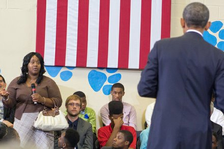 "President Obama answers audience questions at the town hall for the White House's ""My Brother's Keeper"" initiative was held at Walker Jones Education Center on Monday, July 21."