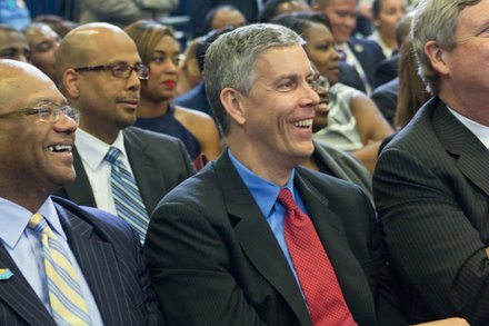 "U.S. Education Secretary Arne Duncan attends the town hall for the White House's ""My Brother's Keeper"" initiative held at Walker Jones Education Center on Monday, July 21."