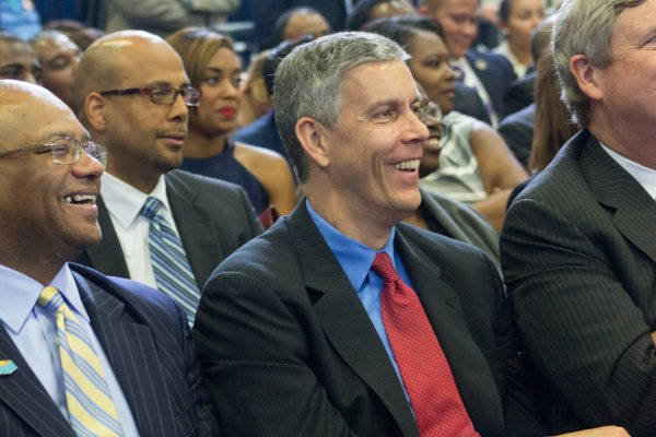 """U.S. Education Secretary Arne Duncan attends the town hall for the White House's """"My Brother's Keeper"""" initiative held at Walker Jones Education Center on Monday, July 21."""