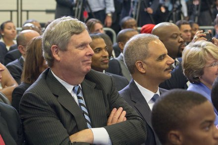 "U.S. Attorney General Eric Holder attends the town hall for the White House's ""My Brother's Keeper"" initiative held at Walker Jones Education Center on Monday, July 21."
