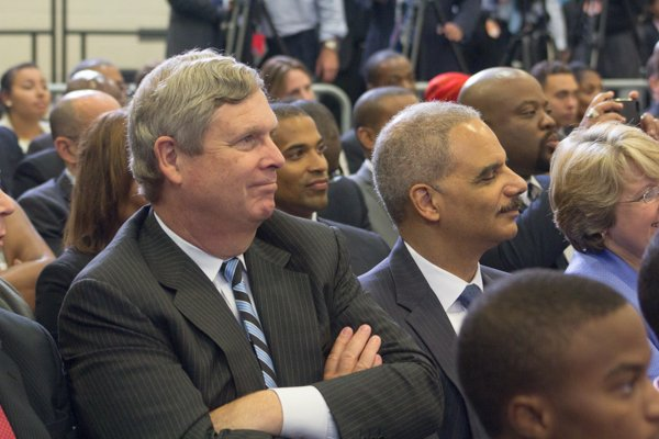 """U.S. Attorney General Eric Holder attends the town hall for the White House's """"My Brother's Keeper"""" initiative held at Walker Jones Education Center on Monday, July 21."""