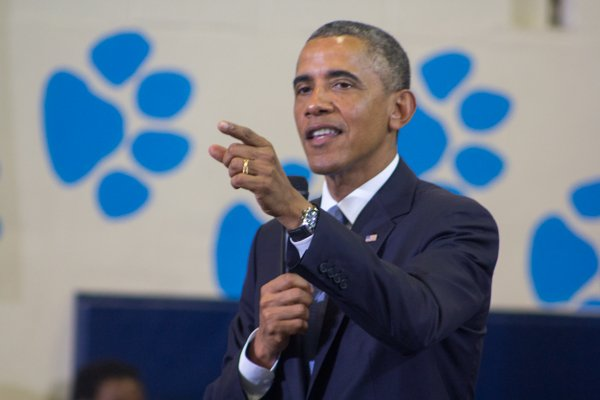 """President Obama speaks at the town hall for the White House's """"My Brother's Keeper"""" initiative held at Walker Jones Education Center on Monday, July 21."""