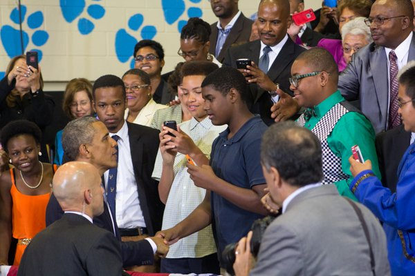 """The town hall for the White House's """"My Brother's Keeper"""" initiative held at Walker Jones Education Center on Monday, July 21."""