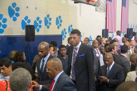 "Isaiah Austin, who missed out on being drafted this year when he was diagnosed with Marfan Syndrome, attends  the town hall for the White House's ""My Brother's Keeper"" initiative held at Walker Jones Education Center on Monday, July 21."