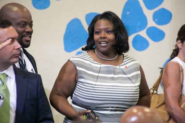"""DCPS Chancellor Kaya Henderson at the town hall for the White House's """"My Brother's Keeper"""" initiative held at Walker Jones Education Center on Monday, July 21."""